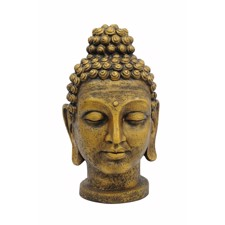 Head Of Buddha. Antique-Gold. 75 Cm.