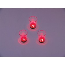 LED Glass 2oz with Dice Play, red, 3x